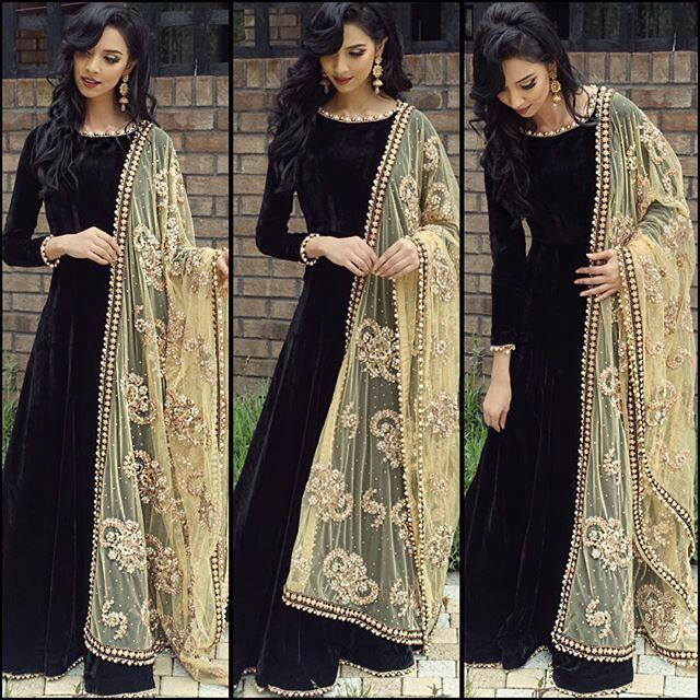 954c86831e Fashion designer black embroidered silk Anarkali suit